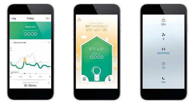 Dyson air purifier app with outdoor air quality data from BreezoMeter