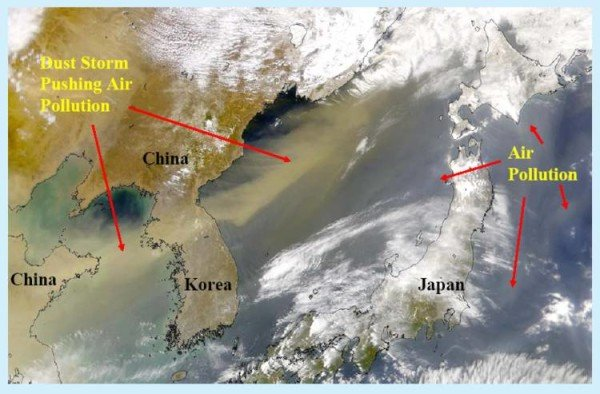 Asian dust storm and air pollution movement. Source: Earth System Research Laboratory