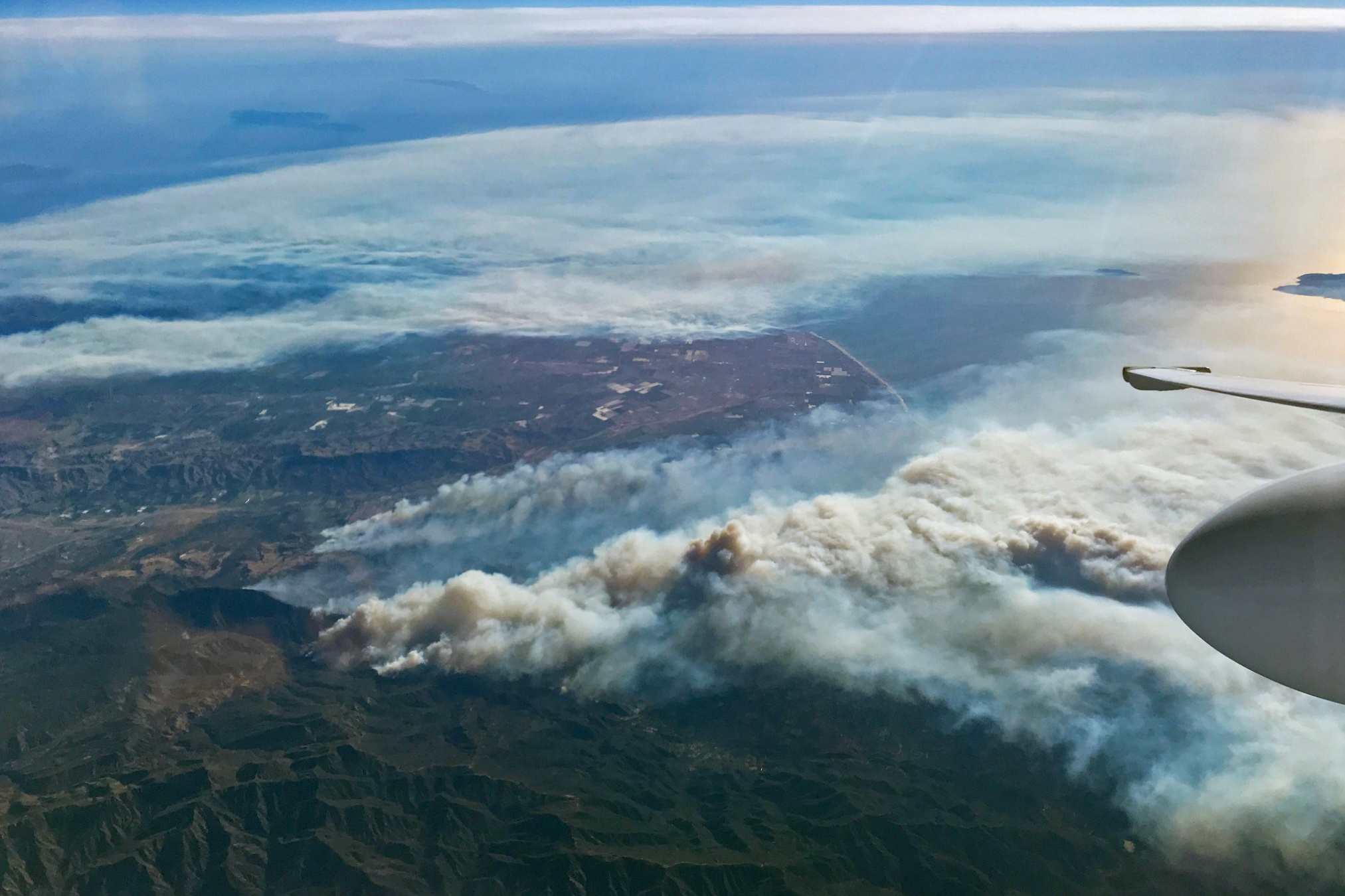 Smoke plumes from CA fires Dec 5 NASA