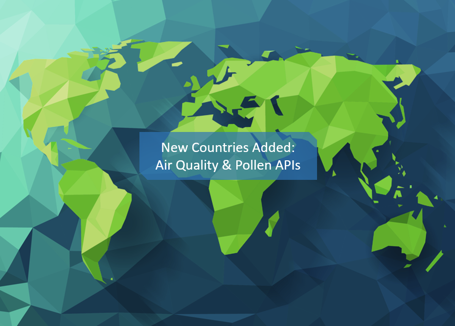 16 new countries added to air quality API 10 new countries for pollen API-1