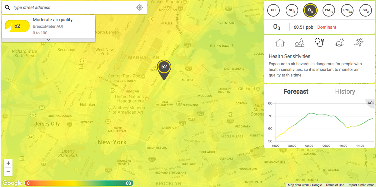 Air pollution map NYC June 30 2017 8.30pm.png