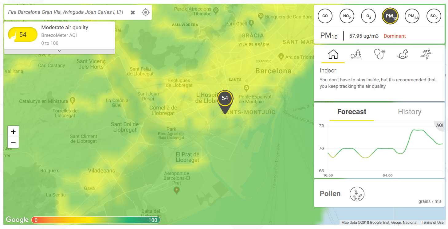 Barcelona live air pollution map forecast