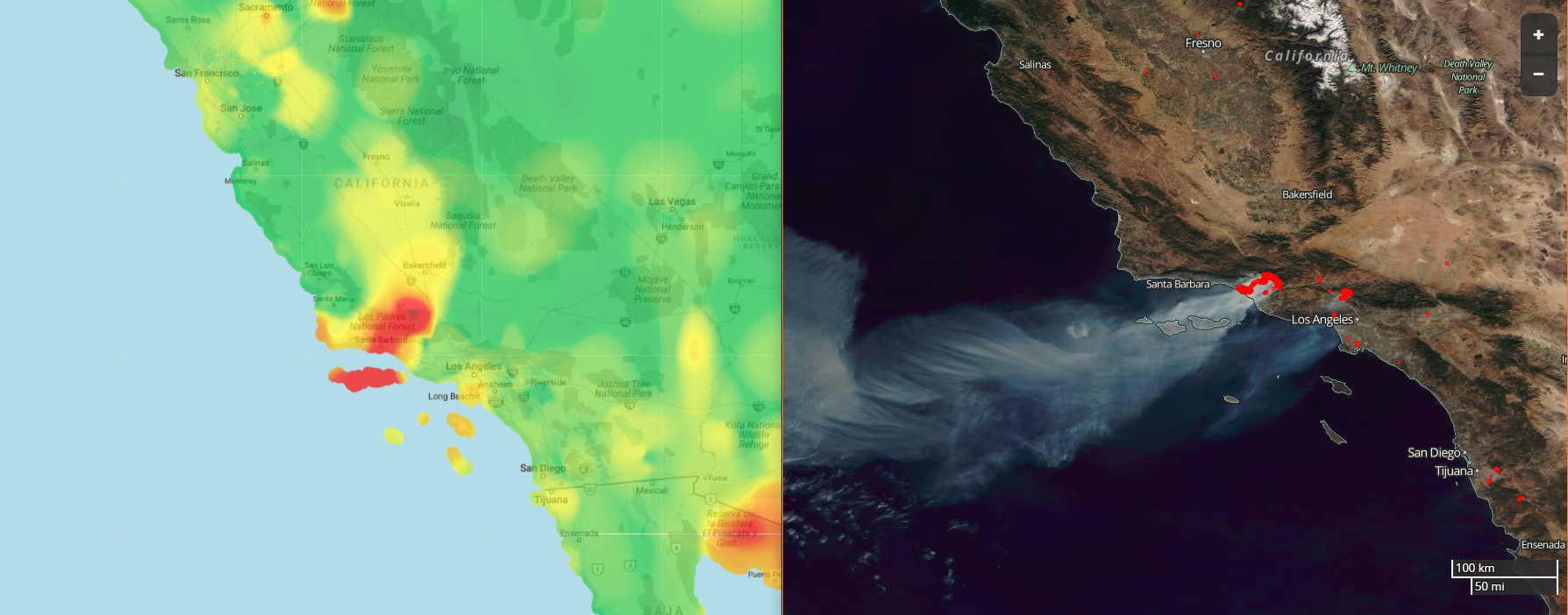 BreezoMeter air pollution heat map (left) next to NASA images of California fires 2017_12_07