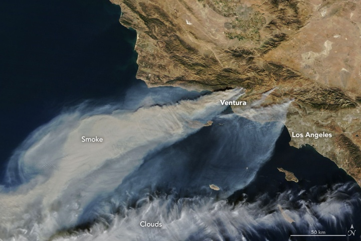 Smoke plumes from CA fires Dec 5 NASA Pacific Ocean satellite