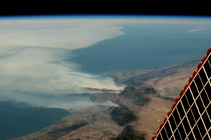 Smoke plumes from CA fires Dec 5 NASA Pacific Ocean